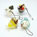 Resin Mobile Straps, with Iron Losbter Claw Clasps, Sundae, MixedColor, about 110mm, sundae: about 34x55mm(MOBA-H003-M)