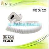 New Arrival Portable 5V 3.4A Car Charger with Fixed usb Cable for iPhone iPad and Mobile Phone