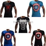 2016 New arrive marvel short sleeve superhero spider man compression tights men sport gym fitness wear 3d t shirt