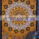 Beautiful yellow Block Printed Tapestry Bohemian Boho Bedspread Decor Psychedelic Mandala Tapestry Wall Hanging 100% cotton