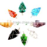 Colorful Wire Wrap Arrowhead Rainbow Glass Faceted Pendant Handmade Gemstone jewelry : Cheap arrowheads for sale