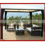 Antique Alu frame round PE rattan Patio garden sofa furniture set/used poly restaurant furniture design