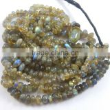 Wholesale natural flashy blue fire labradorite plain roundel beads