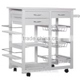 Kitchen Storage Cart/island with Shelves and Drawers