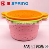 Food Grade High Quality Silicone Collapsible Colander Folding Silicone Bowl Home Tool Kitchen