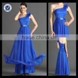 High Quality One Shoulder Royal Blue Handmade Flowers Floor Length Bridesmaid Dresses Patterns bm00086