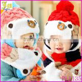 New Soft Winter Crochet Baby Newborn Toddler Boy Girl Beanie Hat Scarf Cute Bear Cap Knitted