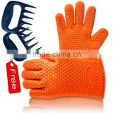Heat resistant bbq silicone grill gloves funny oven mitts cooking kitchen glove