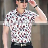 bright colored short sleeve mens shirts low price shirt floral print shirt for men