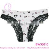 White cotton panties with black lace trim