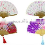 New Japanese Pocket Folding Fan for Wedding Invitation,Embroidery Crafts Gift Bamboo Hand Folding Cloth Handheld Fans Wholesale