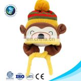 Top selling custom cheap warm soft plush yellow monkey winter baby crochet hat