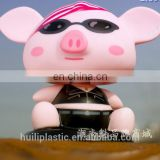 3d plastic bobblehead plastic figure, pig Custom vinyl Bobble head toy, Personalized resin head shaking figure