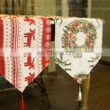 factory price cotton and linen table runner for christmas decoration