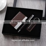 Wholesale metal keychain and leather card holder gel pen set                                                                                                         Supplier's Choice