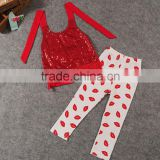 Brand Children Clothing Wholesale XZ6148 Summer New Style Girl Clothes Bead Piece Embroidered Virgin Suit