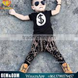 2016 Wholesale Boutique Hot Sale Baby Clothes Set Baby Boys T-Shirt Children Cotton T-shirt + Harem Pants