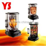 1500w electric vertical glass grill with shawarma,kebab,and rotisserie function