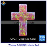 Synthetic Deep Sea Coral Cross Opal Stone with Hot Sale 2015 For Fashion Jewelry