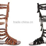 New Style Women Genuine Leather Gladiator Sandal Lace up Flat Knee High Sandal Boots