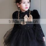 2015 kids angel velvet dress retro style lace dress black and white vintage princess skirt long sleeve princess dress100-140cm