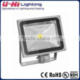 Die casting aluminum housing and high intensity toughened glass cover LED floodlight 60w