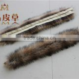 Wholesale and retail Real fur raccoon /Genuine raccoon fur strip /Raccoon fur trim for hood