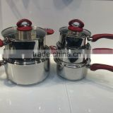 stainless steel cookware sets bakelite handle cookware satin finished inside straight shape saucepan with glass lid