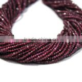 SEMI PRECIOUS NATURAL INDIAN GARNET3-4MM RONDELLE FACETED LOOSE BEADS STRAND JAIPUR JEWELRY
