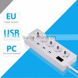 Intelligent 220V 13amp 5 gang extension cord multi plug and socket outlet with switches and 5 usb ports