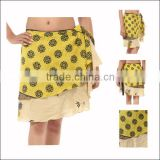 Shop Online Beach Wear / Resort Wear / Pool Side Wear - Mini Silk Wrap Skirt At JaipurOnline