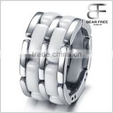 Stainless Steel Ceramic Ring Band Silver White Hollow Openwork Links Polished Unique Men                                                                         Quality Choice