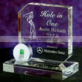 Wholesale cheap blank clear 3d crystal golf trophy plaque with custom logo for club souvenir
