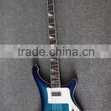 Weifang Rebon 4 string ricken neck through body electric bass guitar in blue sunburst colour