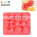 Eco-friendly cute bowknot and button custom ice cube tray