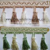 Beautiful Bi-color Decorative Fabric Fringe Trimming For Curtain