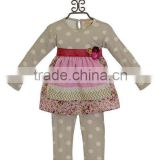baby girl clothing set flower pattern boutique dot top and pants baby cotton winter outfit