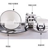 creative cartoon lovely panda ceramic 4-piece set solid bowl and mug, promotional cowl porcelain suit