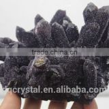 Natural pyramid end prism dark amethyst crystal cluster covered with rime