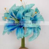 PU baby blue 6 heads lily bouquet, lily bush, lily flower