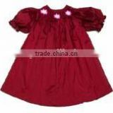 Customized holiday dress toddler girls beautiful smocked christmas red Factory Price Girls Dress