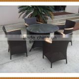 5PCS Round Table Rattan Dining Set With Wood Arm Chair