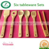 High Quality Eco-friendly Kitchen Accessories Turner Bamboo Spatula Set Of 6 Pcs For Cooking Food Stir Kitchen Utensil