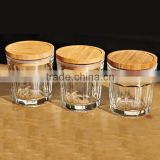 Exquisite Seal Clear Glass Storage Jar Wood Lid, Food Canister Wooden Lid