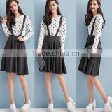 ladies fashion outfits polka dot print shirts with suspender skirt,long stripe print with skirt sets for new summer collection