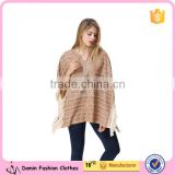 New Arrival Ladies Fashion Design Elegant Winter/Autumn Tan Colour Dolman/ Cape/Shawl Coat With Fringing and Beading for women