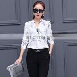 New Fashion Long Sleeve Starfish Printed Casual Chiffon Shirts White Loose Cutting Woman Blouse