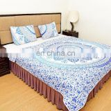 Indian 2017 Blue Ombre Mandala Quilted Blanket Comforter Queen Size Reversible Duvet Set Bedding Set