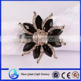 Black rhinestone sunflowers brooch
