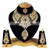 Bolllywood Designer Gold Plated Bollywood Party wear Jewelry Necklace Set Dark Red Color